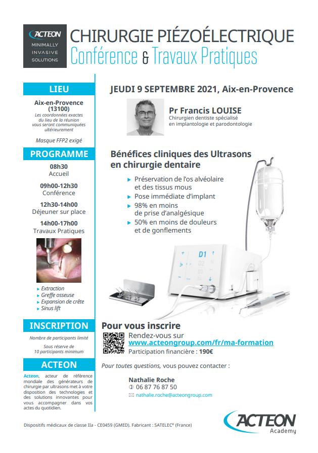 Conférence et Travaux pratiques Chirurgie Piézoélectrique Septembre 2021